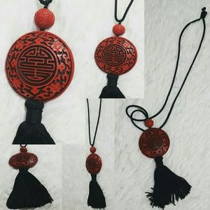 Vintage Chinese Red Laquer Tassel Necklace